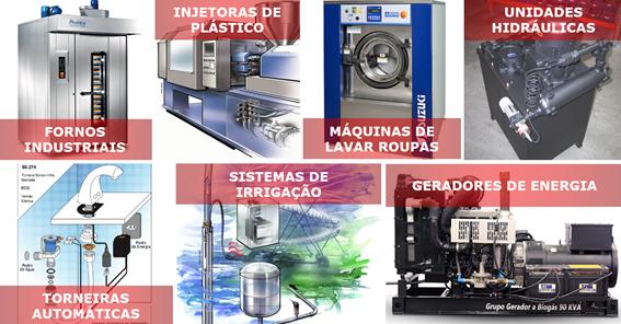 Fornos industriais, Injetoras de plástico, Maquinas industriais de lavar roupas, Unidades hidráulicas, Torneiras automáticas, Sistemas de irrigação e Geradores de energia.